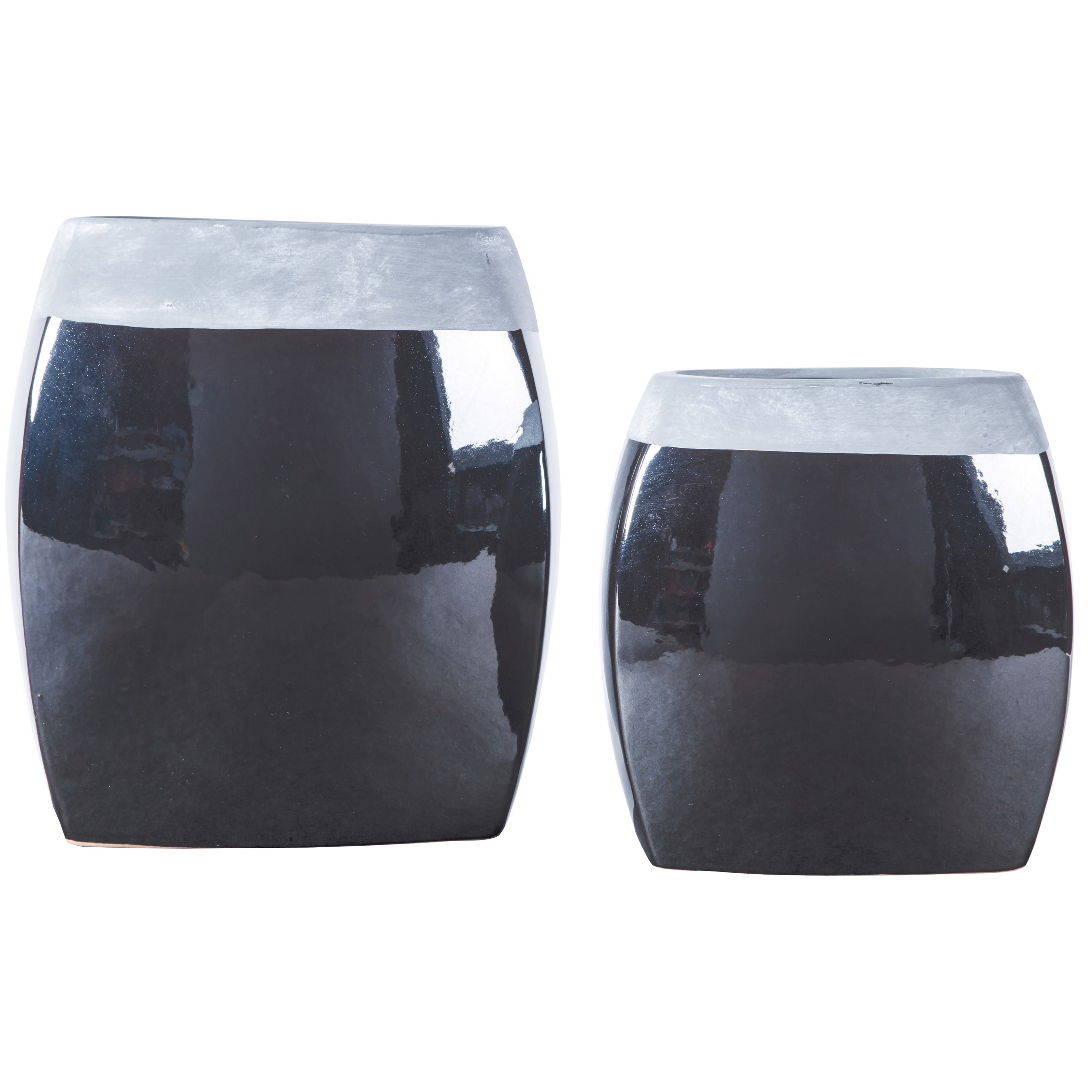 Signature Design by Ashley Accents Derring Black/Nickel Finish Vases (Set of 2) - Item Number: A2000264