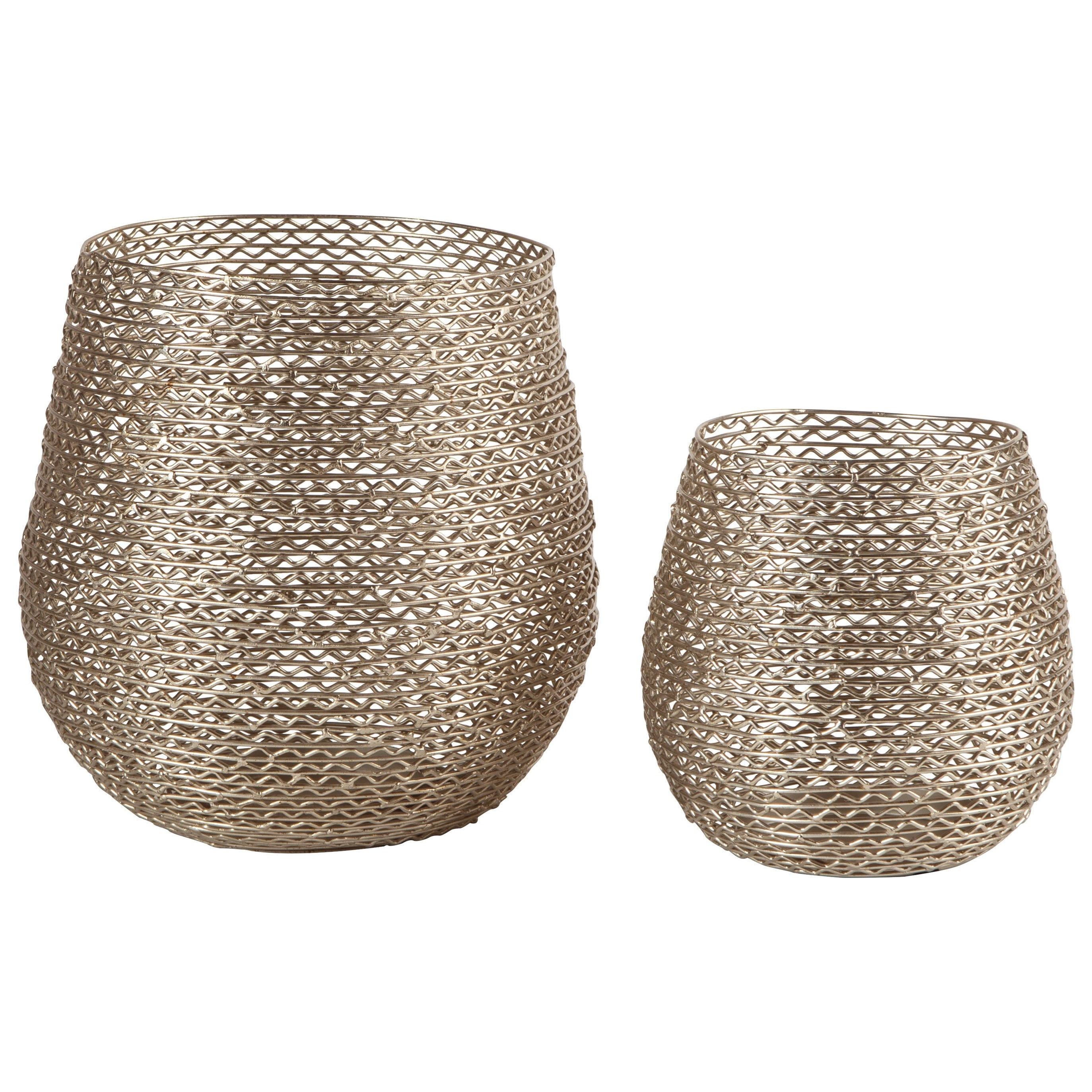 Signature Design by Ashley Accents Desdemona Silver Candle Holders - Item Number: A2000290C