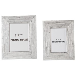 Signature Design by Ashley Furniture Accents Devaki White/Silver Finish Photo Frame Set