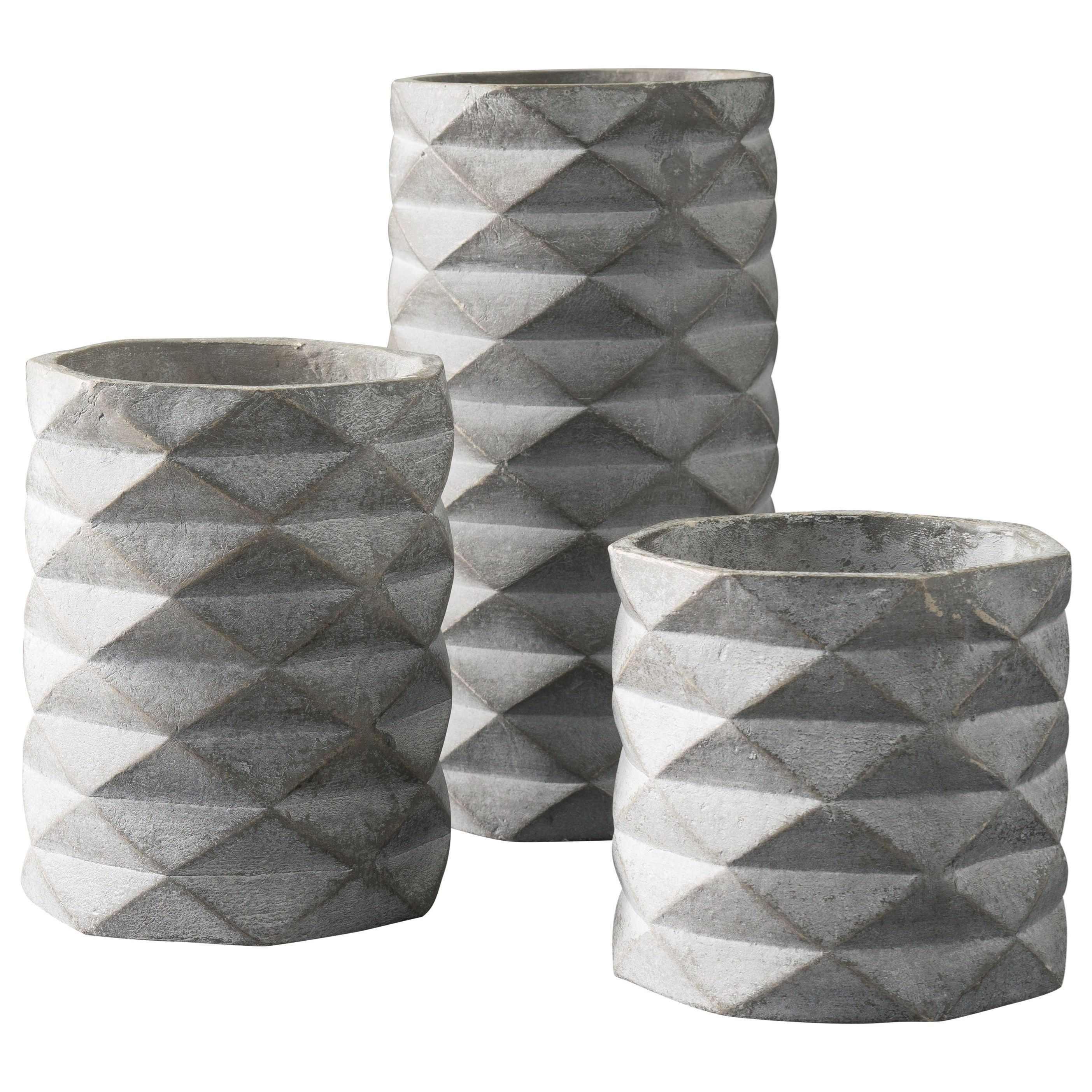 Signature Design by Ashley Accents Set of 3 Charlot Gray Vases - Item Number: A2000312