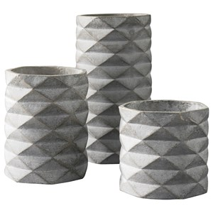 Ashley Signature Design Accents Set of 3 Charlot Gray Vases