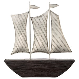 Myla Brown/Silver Finish Ship Sculpture