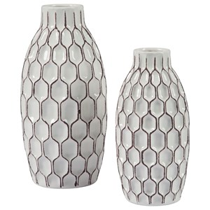 Signature Design by Ashley Accents 2-Piece Dionna White Vase Set