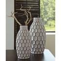 Signature Design by Ashley Accents 2-Piece Dionna White Vase Set