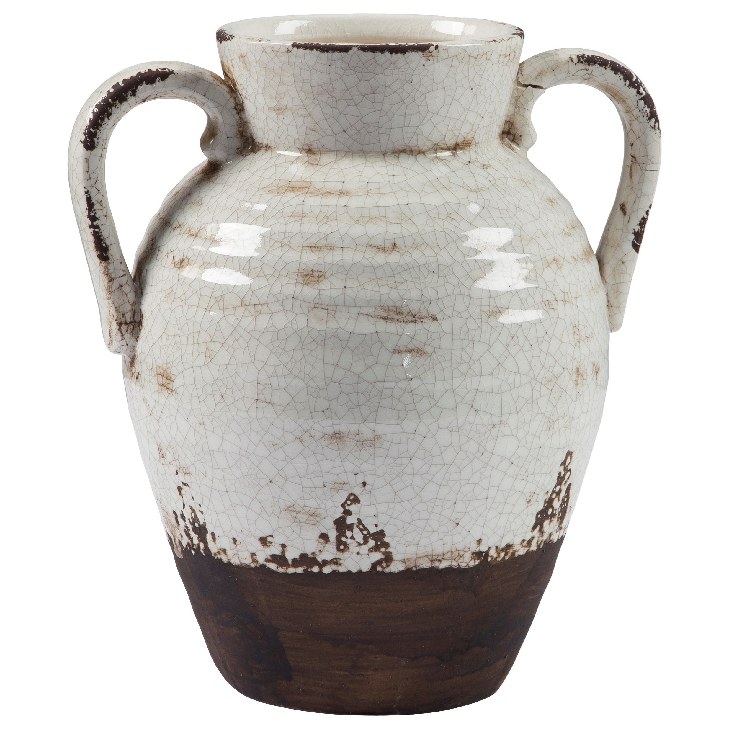 Accents Dion Distressed White Vase by Signature Design at Fisher Home Furnishings