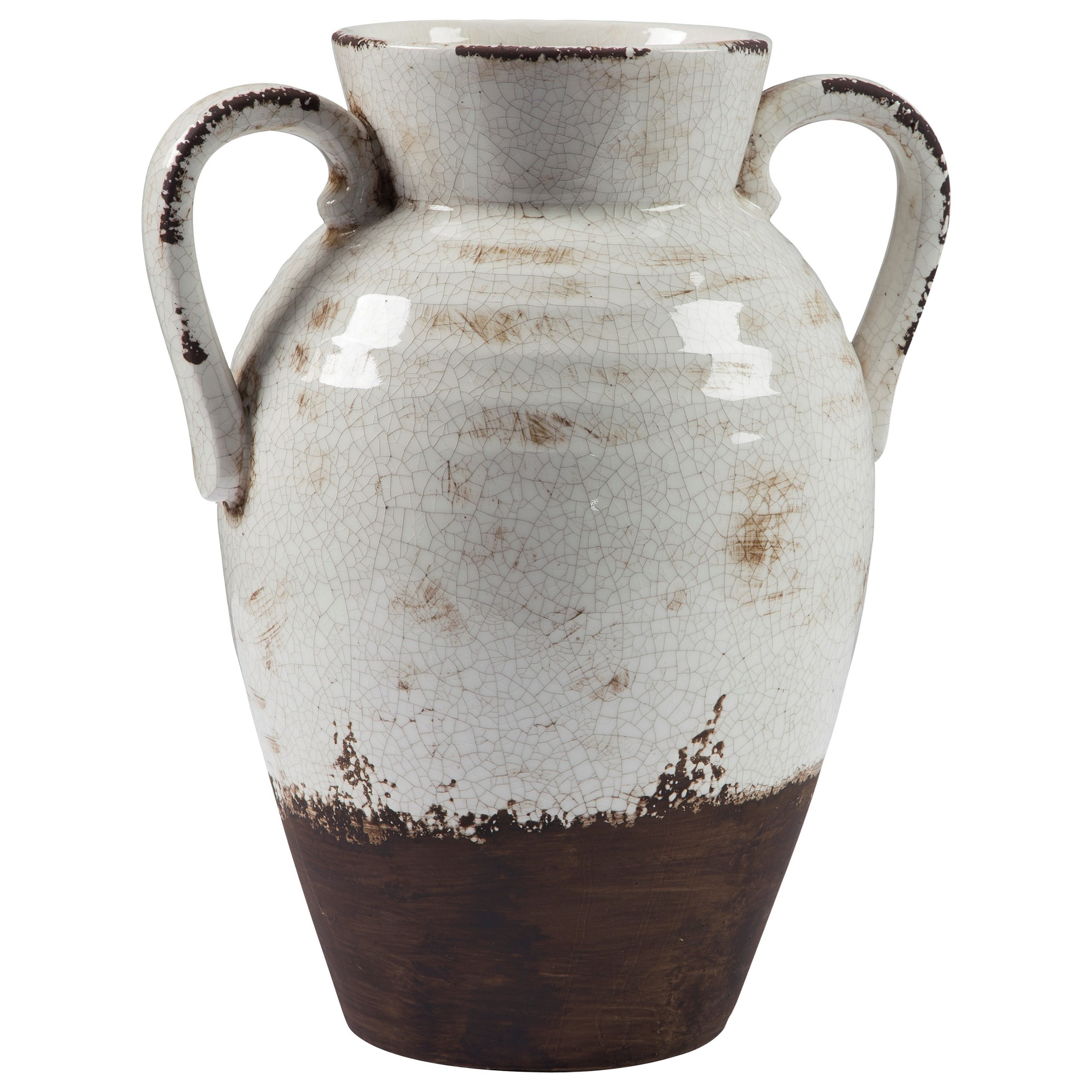 Ashley Signature Design Accents Dion Distressed White Vase - Item Number: A2000331
