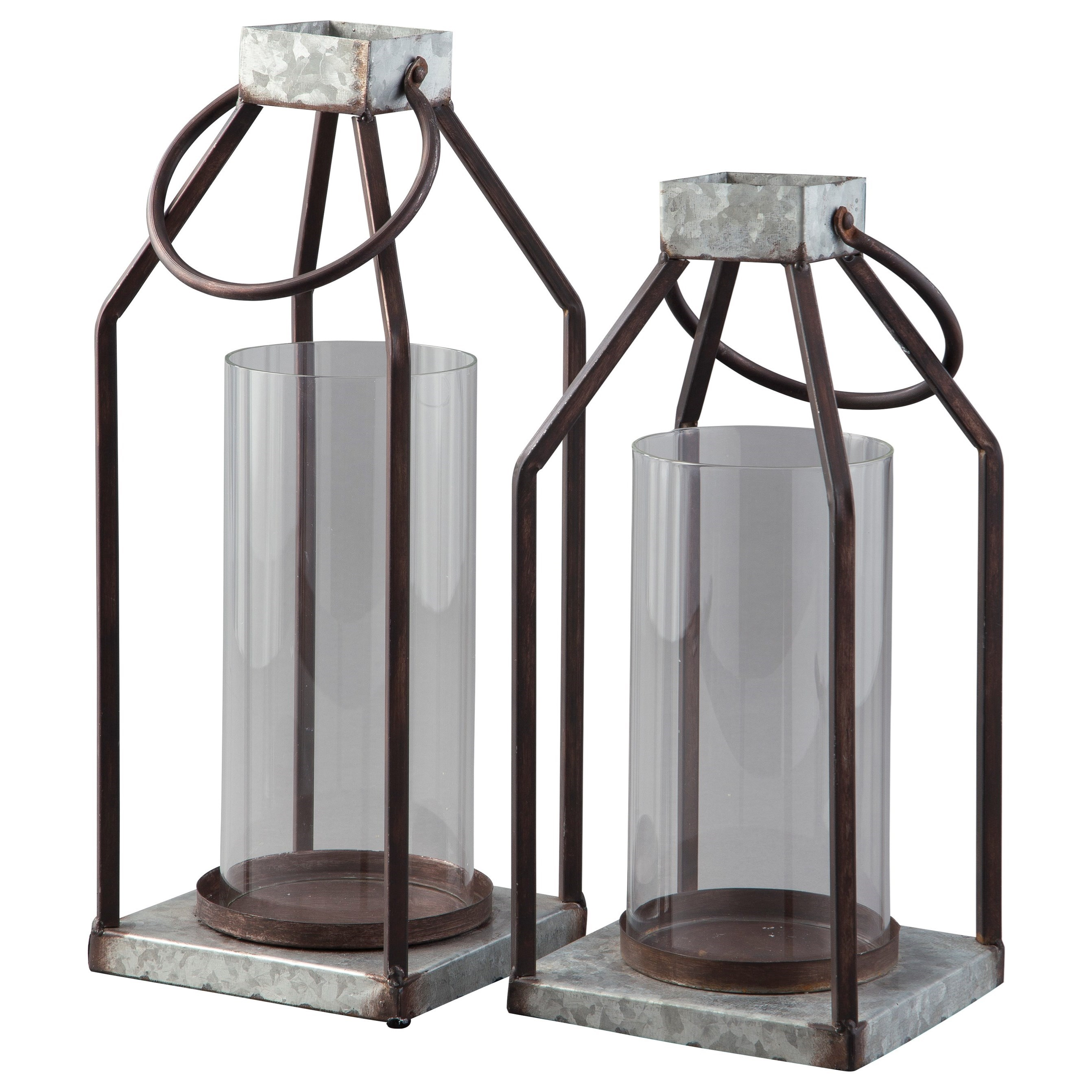 Accents Diedrick Gray/Black Lantern Set by Signature Design by Ashley at Zak's Warehouse Clearance Center