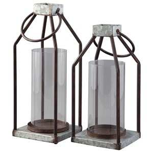 Ashley Signature Design Accents Diedrick Gray/Black Lantern Set
