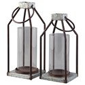 Ashley (Signature Design) Accents Diedrick Gray/Black Lantern Set - Item Number: A2000346