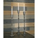 Signature Design by Ashley Accents Dimaia Antique Silver Finish Candle Holders, Set of 3