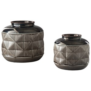Eire Taupe/Black Vase Set