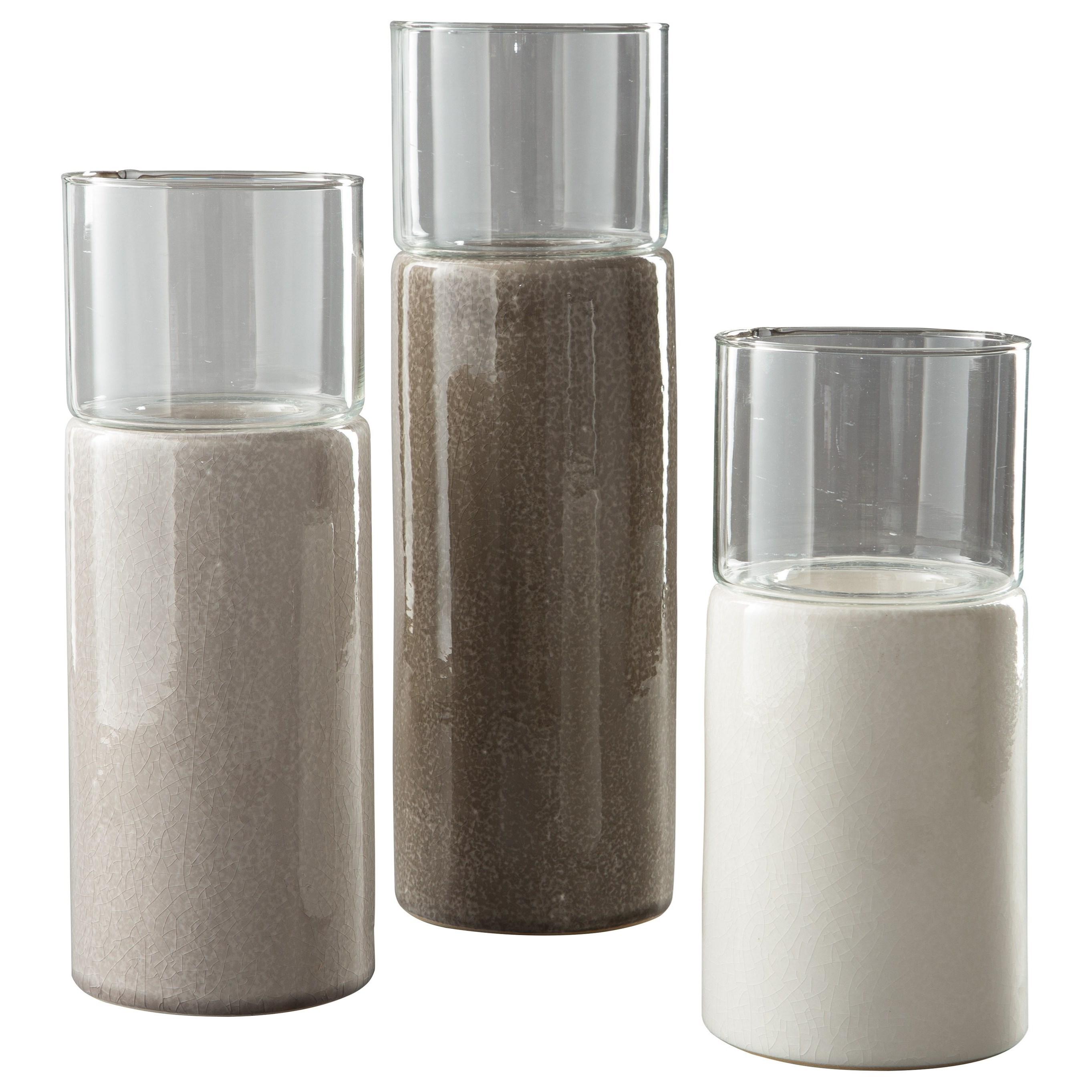 Accents Deus Gray/White/Brown Candle Holder Set by Signature Design by Ashley at Coconis Furniture & Mattress 1st