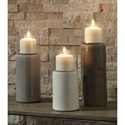 Signature Design by Ashley Accents Deus Gray/White/Brown Candle Holder Set