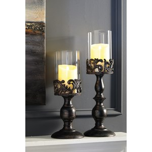 Constance Antique Black Candle Holder Set