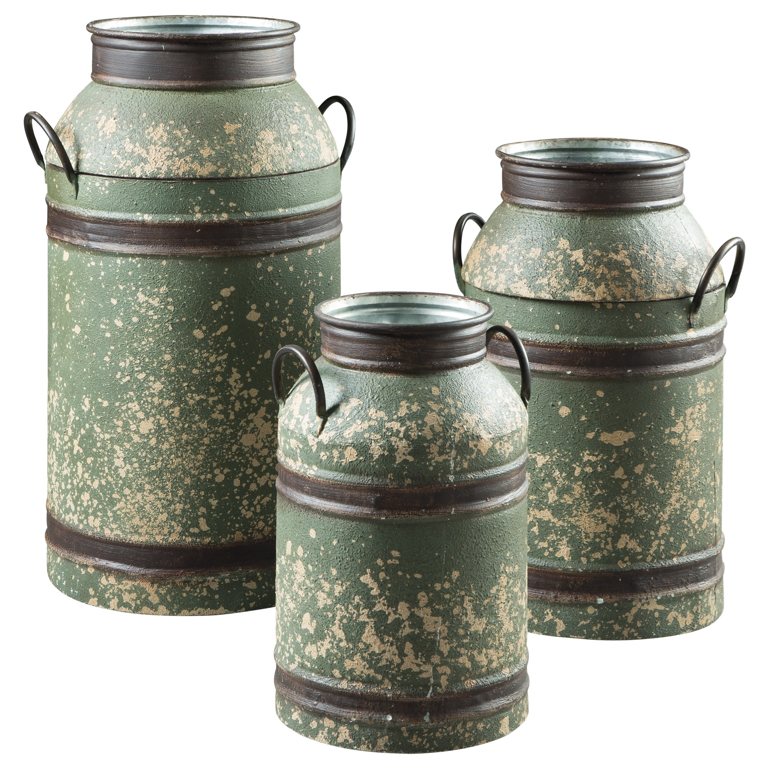 Accents Elke Antique Green/Brown Milk Can Set by Signature Design by Ashley at Coconis Furniture & Mattress 1st