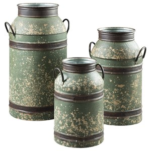 Ashley Signature Design Accents Elke Antique Green/Brown Milk Can Set