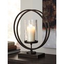 Signature Design by Ashley Accents Jalal Antique Gold Finish Candle Holder
