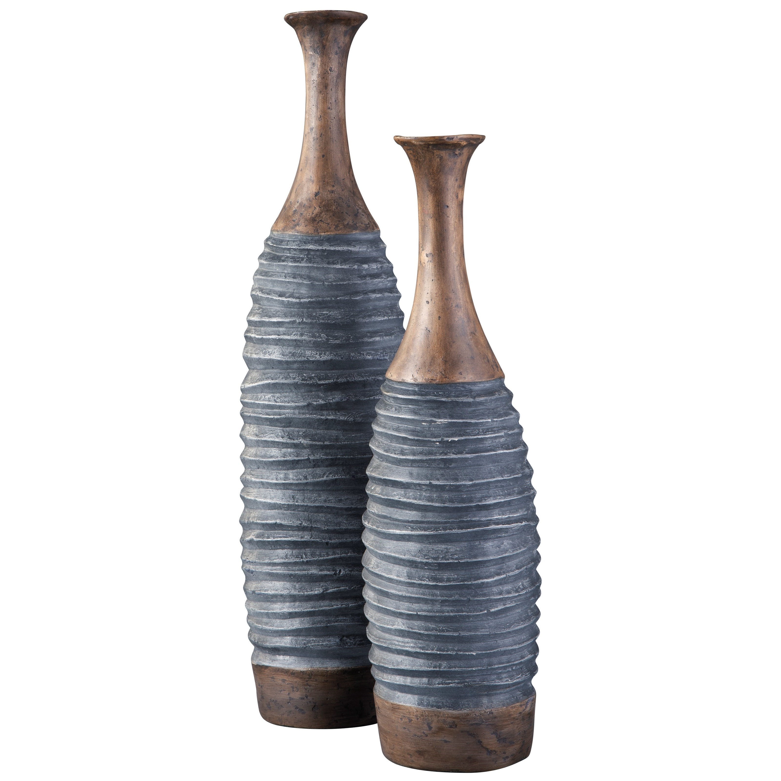 Blayze Antique Gray/Brown Vase Set