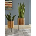 Signature Design by Ashley Accents Donisha Antique Brass Finish Planter Set