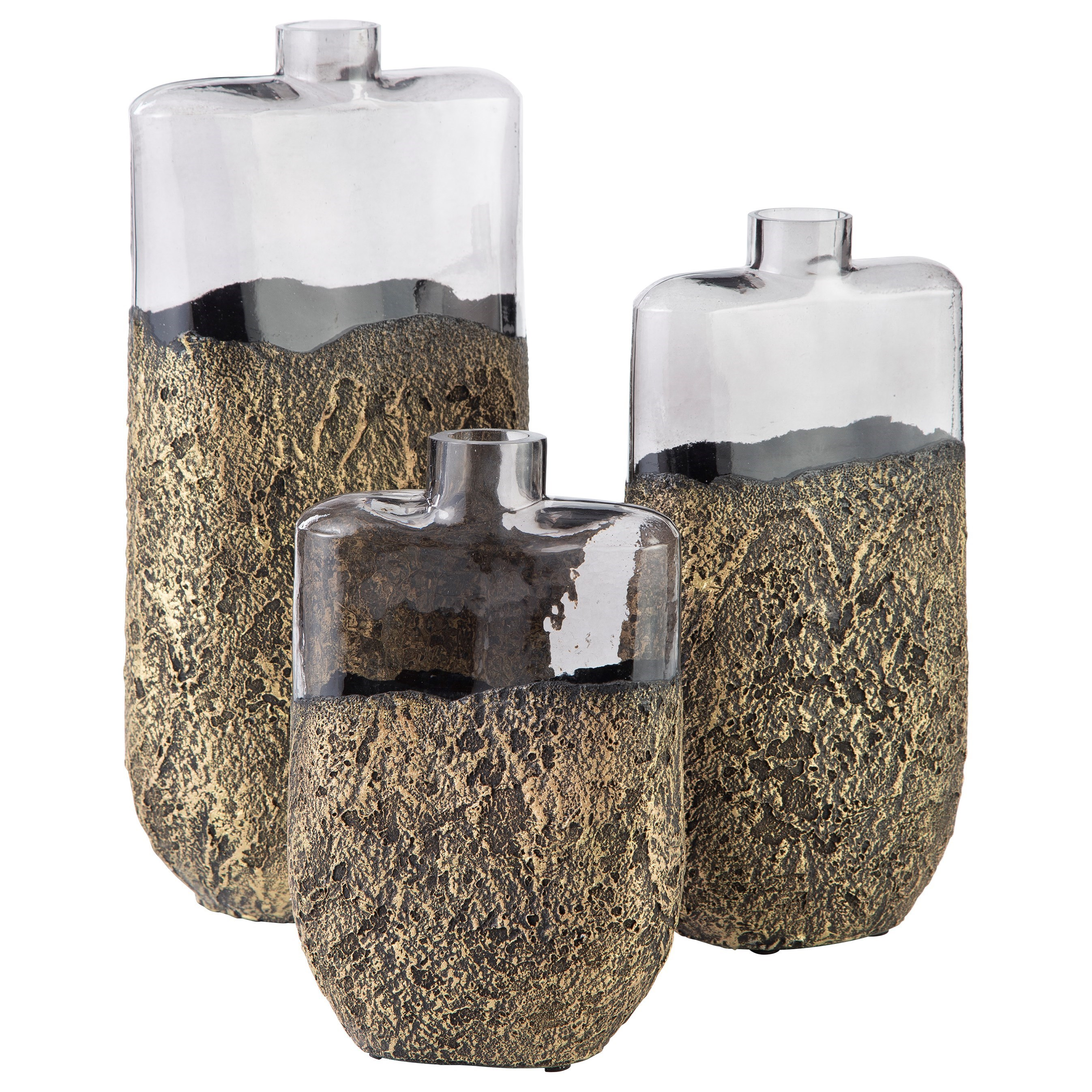 Accents Set of 3 Clement Antique Gold Finish Vases by Signature Design by Ashley at Catalog Outlet