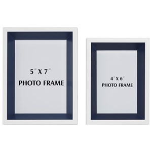 Signature Design by Ashley Furniture Accents Obie White/Navy Photo Frame (Set of 2)