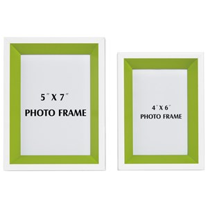 Signature Design by Ashley Furniture Accents Obie White/Green Photo Frame (Set of 2)