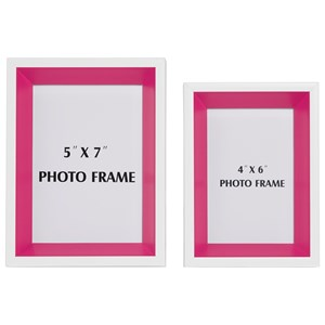 Signature Design by Ashley Furniture Accents Obie White/Pink Photo Frame (Set of 2)