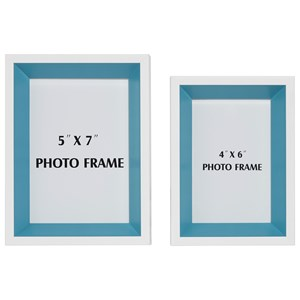 Signature Design by Ashley Furniture Accents Obie White/Blue Photo Frame (Set of 2)