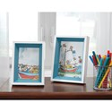 Signature Design by Ashley Accents Obie White/Blue Photo Frame (Set of 2)