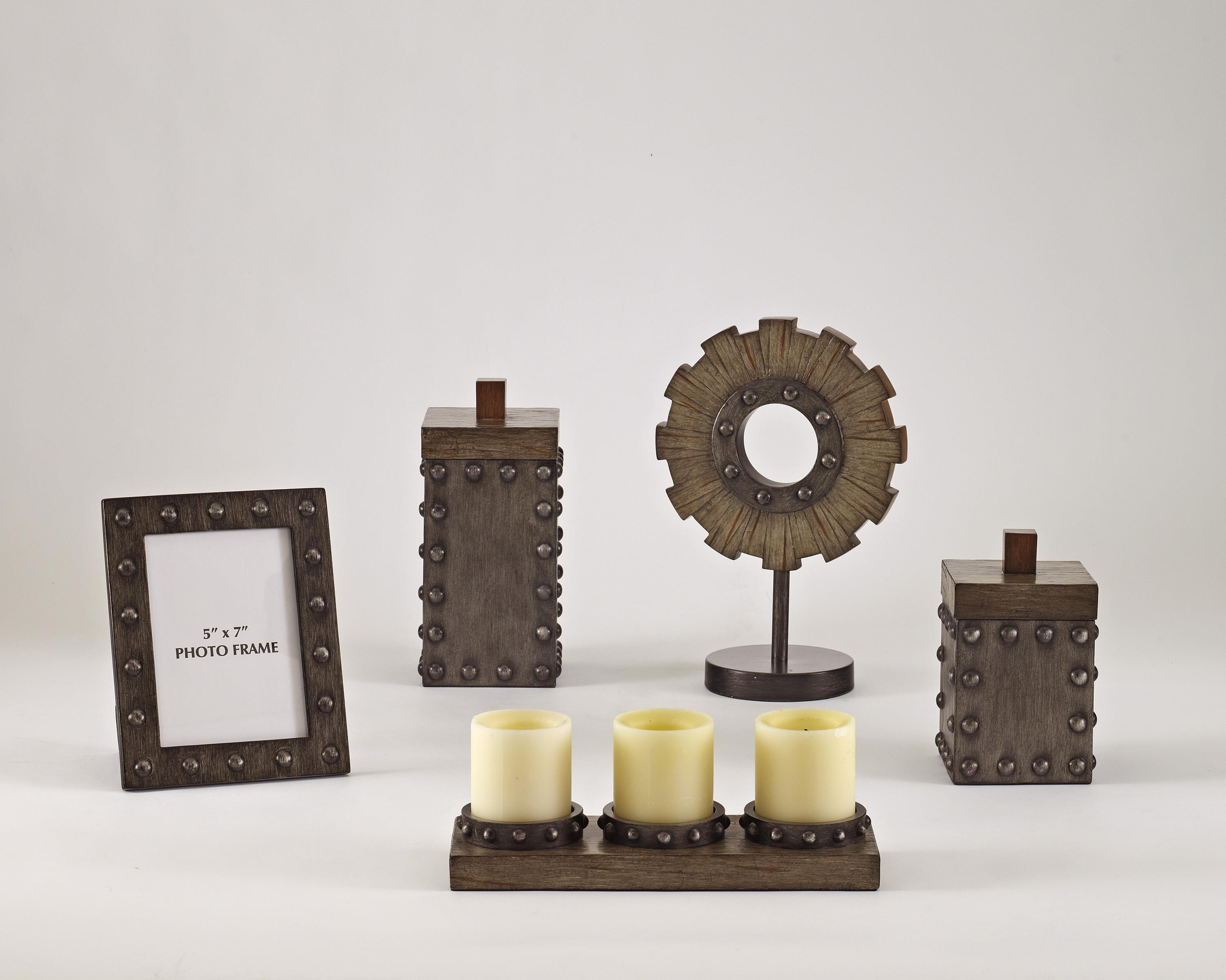 Signature Design by Ashley Furniture Accents Sakina - Faux Wood & Pewter Accessory Set - Item Number: A2C00110