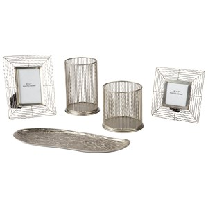 Ashley Signature Design Accents Dympna Silver Finish Accessory Set