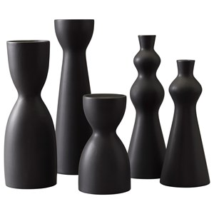 Signature Design by Ashley Furniture Accents Destry Black Candle Holders (Set of 5)