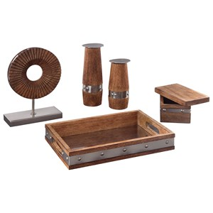 Ashley Signature Design Accents 5-Piece Dinh Brown/Chrome Accessory Set