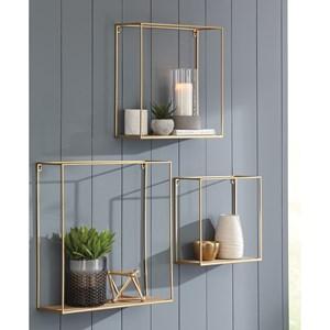 Signature Design by Ashley Wall Art 3-Piece Efharis Natural/Gold Wall Shelf Set