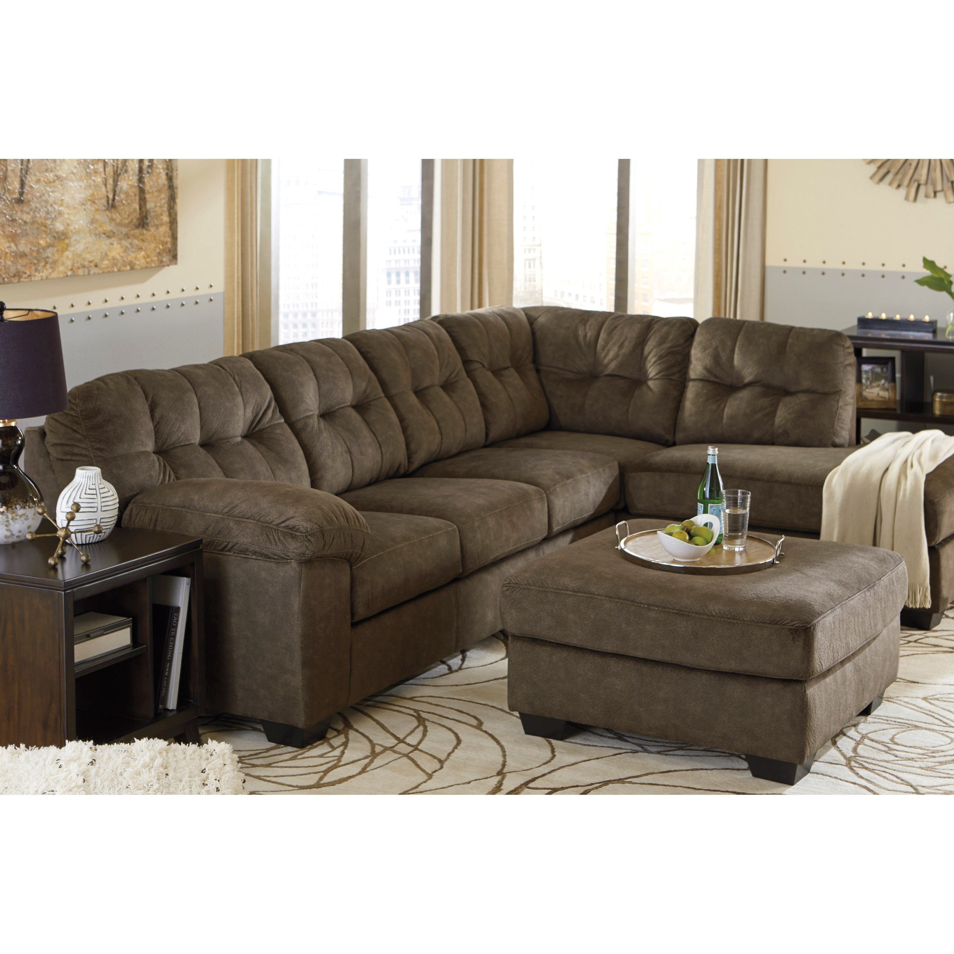Ashley signature design accrington contemporary sectional for At home designs sedona leather chaise recliner