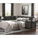 Signature Design by Ashley Accrington Sectional with Left Chaise & Memory Foam Queen Sleeper Mattress