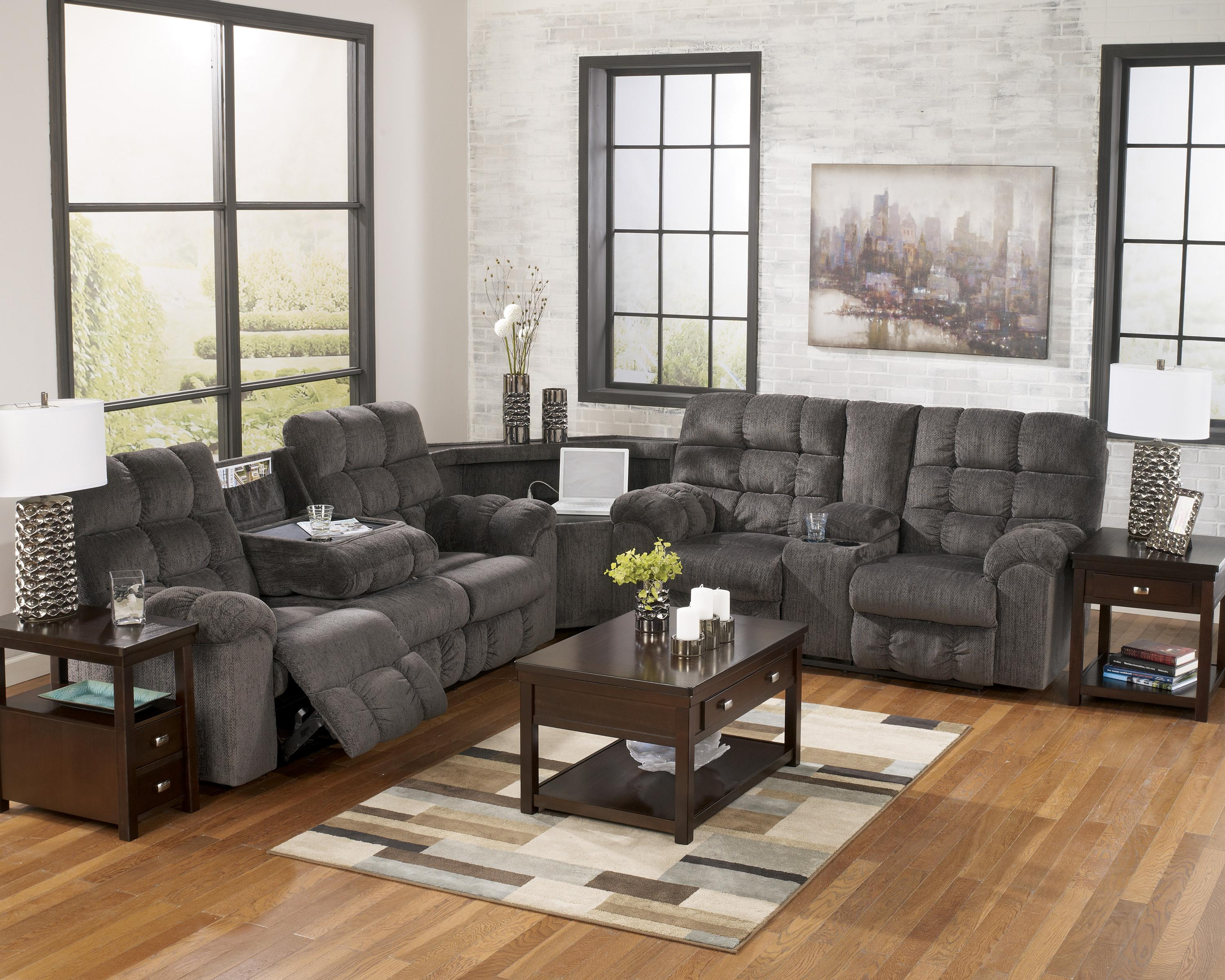 Signature Design by Ashley Acieona - Slate Reclining Sectional with Right Side Loveseat - Item Number: 5830089+77+94