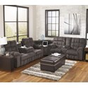 Signature Design by Ashley Acieona - Slate Reclining Sectional Sofa with Right Side Loveseat, Cup Holders and Charging Station - Coordinating Collection Rocker Recliner Shown Right Corner