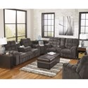 Signature Design by Ashley Acieona - Slate Reclining Sectional Sofa with Right Side Loveseat, Cup Holders and Charging Station - Outlets and USB Ports Located in the Sectional\'s Wedge Create Convenience for Charging Needs