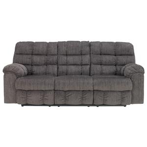 Ashley (Signature Design) Acieona - Slate Reclining Sofa with Drop Down Table