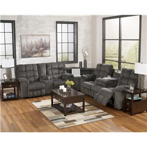 Signature Design by Ashley Furniture Acieona - Slate Reclining Sectional with Left Side Loveseat