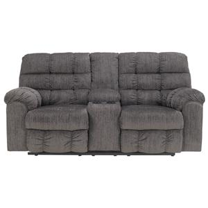 Signature Design by Ashley Acieona - Slate Double Reclining Loveseat with Console