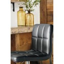 Signature Design by Ashley Adjustable Height Barstools Tall Upholstered Swivel Barstool in Black Faux Leather