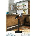 Signature Design by Ashley Adjustable Height Barstools Tall Upholstered Swivel Barstool with Molded Plywood