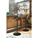 Signature Design by Ashley Bellatier Tall Upholstered Swivel Barstool with Molded Plywood