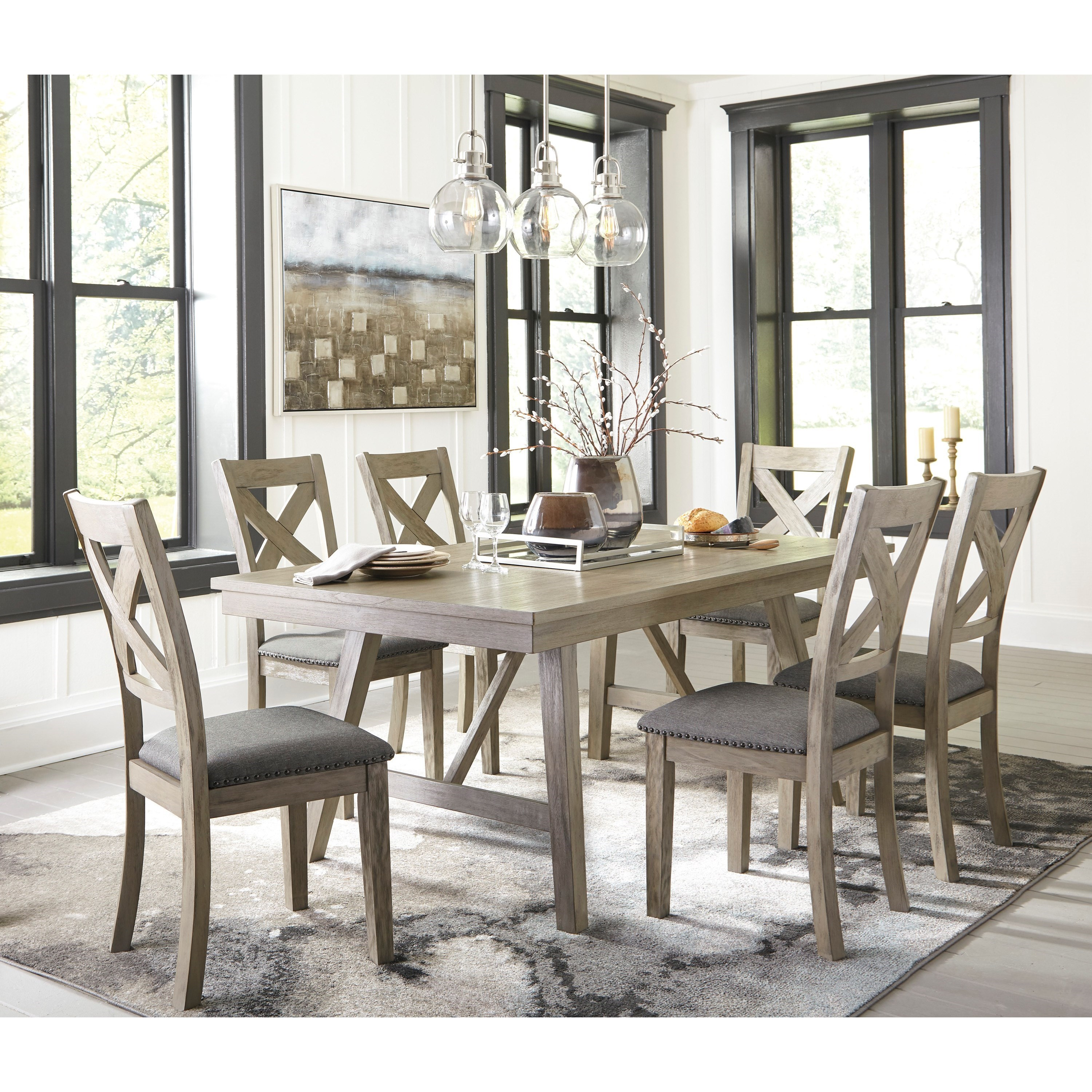 Signature Design By Ashley Furniture Hayley 7 Piece Dining: Signature Design By Ashley Aldwin 7-Piece Table And Chair