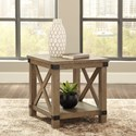 Signature Design by Ashley Aldwin Farmhouse Rectangular End Table with Metal Accents