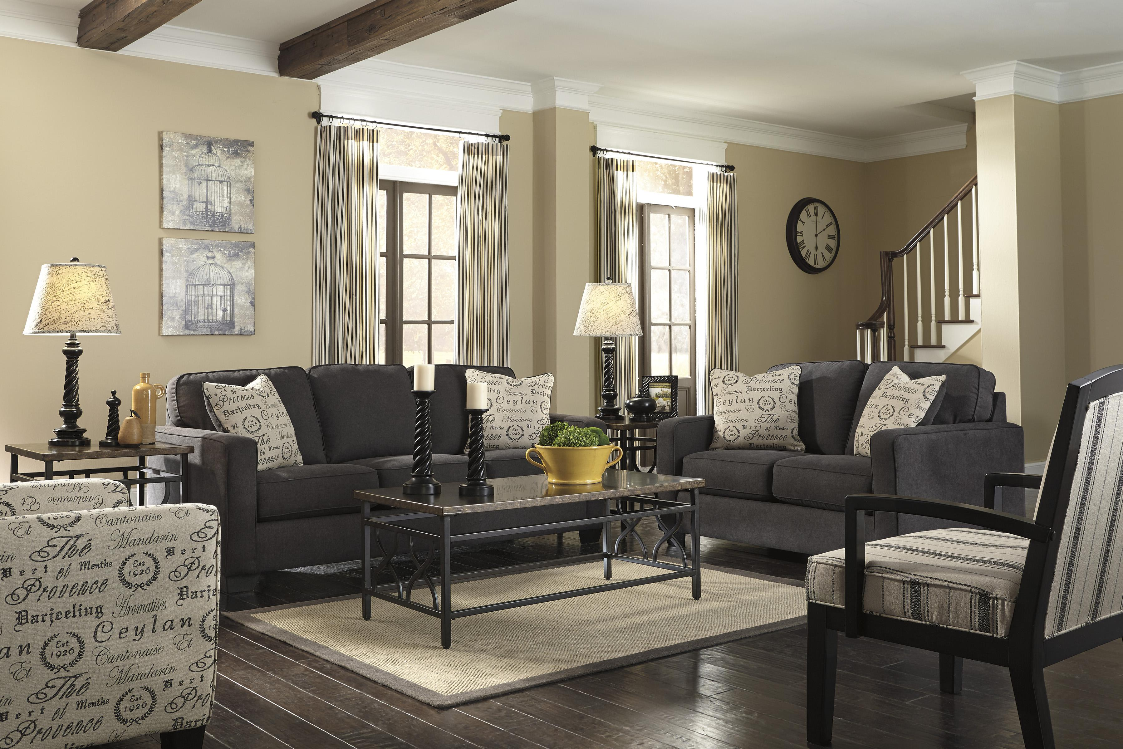 Signature Design by Ashley Alenya - Charcoal Contemporary Loveseat w/ Track Arms - Furniture ...