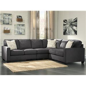 Ashley Signature Design Alenya - Charcoal 3-Piece Sectional with Left Loveseat