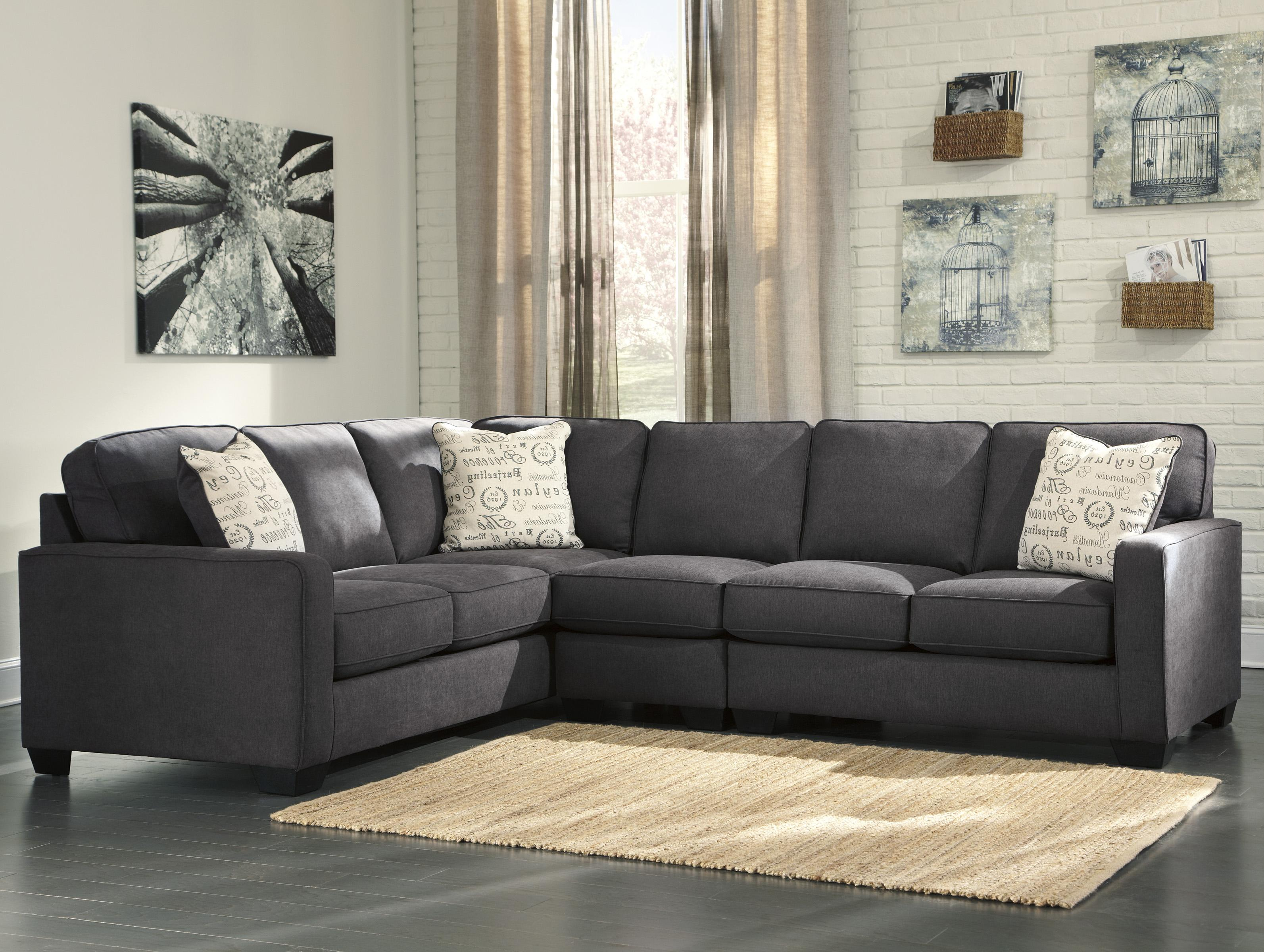 Ashley Signature Design Alenya - Charcoal 3-Piece Sectional with Right Loveseat - Item Number : sectional or sofa and loveseat - Sectionals, Sofas & Couches
